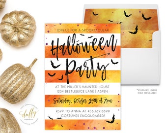Halloween Invitation, Spooktacular Halloween Invitation, Adult Halloween Party Invite, Orange Black, Halloween Invite PRINTABLE 5x7