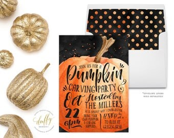 Pumpkin Carving Invitation, Halloween Party Invitation, Harvest Party Invitation, Pumpkin Carving Invite, Fall Festival Invite Printable 5x7