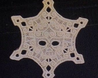 Embroidered Skullflake Ornament