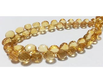 ON SALE 55% Citrine Faceted Beads - Onion Briolettes - 9 mm To 7mm Each - 2 Inch Half Strand - 12 Pieces