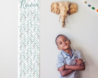 Custom/ Personalized Gray Watercolor Chevron Growth Chart - Perfect for gender neutral nursery or baby shower gift