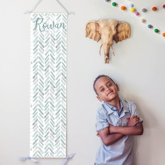 Personalized Gray Watercolor Chevron Growth Chart