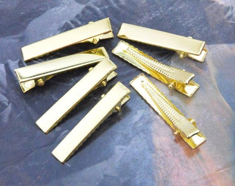 100 gold clips, hair clips, metal hair clip, gold metal clips, flat barrette clips, alligator clips, jewelry clips, wholesale clips 7x41mm