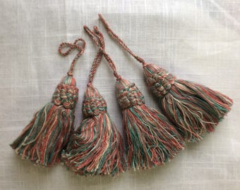 Four TASSELS  Teal blue/green, coral pink  cotton