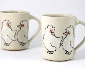 Chicken Coffee Mug handmade pottery coffee cup tea cup cute animal themed ceramics illustrated pottery chickens illustration
