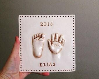 Personalized Baby Keepsake Print - Baby Hand Print Kit - Baby Footprint Mold  - Baby Memory Keepsake - Handmade Baby Memento - Hand Print