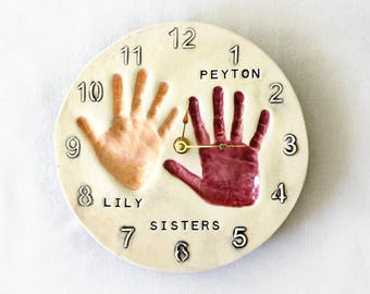 Hand Print Clock - Hand Print Art - Sibling Hand Prints - Hand Print Keepsake - Hand Print Decor - Sibling Keepsake - Ceramic Hand Prints