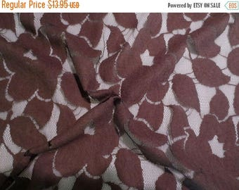 ON SALE Brown on Black Floral Design Brushed Lace Fabric--One Yard