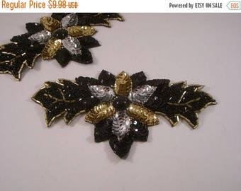 ON SALE Black Gold and Silver Sequin Floral Design Applique--One Piece