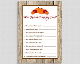 Who Knows Mommy Best Game, Pumpkin Shower Activity, Autumn, Fall, Leaves, Neutral, DIY Printable, INSTANT DOWNLOAD