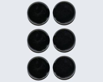 ONYX  (33708) * * * (PACK - 6 Gems) Solid Black 12mm Calibrated Onyx/Agate Flat Bottom - Cab / Cabochons