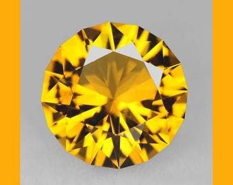 CITRINE (34444) * * * * * Master Cut -> Fiery!  9.2mm Golden Citrine Round - Faceted