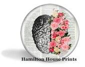 Brain Art With Flowers Magnet Brain With Flowers Mirror Brain With Flowers Button Pin Anatomy Gift HHP Original Gift Under 5