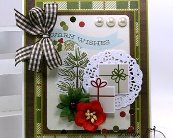 Warm Wishes Christmas Greeting Card Polly's Paper Studio Handmade