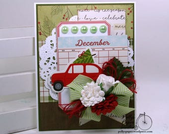 Bringing Home the Christmas Tree Greeting Card Polly's Paper Studio Handmade