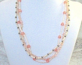 Long Triple Strand Necklace Rose Quartz Gemstone Glass Pearl Pink Cream White Multistrand Romantic Fancy Sparkly Retro Style Jewelry 24in