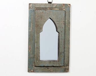 Moroccan Mirror Distressed Blue Gray Boho Decor Turkish Interior Distressed Wood Wall Mirror