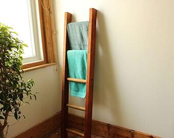 Vintage Wooden Ladder Towel Rack Picture Frames Display