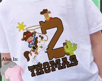Cowboy Birthday Shirt or bodysuit- Birthday Shirt - Boy Personalized Shirt - Cowboy on Horse Shirt - Lasso Cowboy Birthday Party Shirt