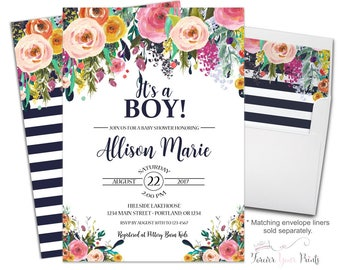 Boys Baby Shower Invite - Floral Baby Shower Invitation - Baby Shower Invitation Boy - It's A Boy - Navy Baby Shower - Baby Boy Shower