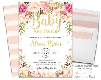 Boho Baby Shower Invitation - Baby Shower Invitation Girl - Girl Baby Shower Invite - Baby Girl Invitation - Confetti Baby - Floral Baby