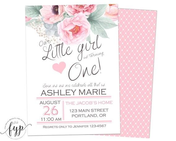 1st Birthday Invitation Girl Floral 1st Birthday Girls 1st
