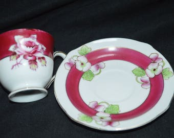 Gold China and Ucago Floral Demitasse Cup and Saucer-Occupied Japan