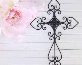 ON SALE Black Wall Cross /Cross Decor / Metal Cross / Wall Cross / Bedroom Wall Decor / Kitchen Decor