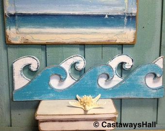 RESERVED For Tammylynch26 Custom Waves Sign Wall Art Beach House Decor by CastawaysHall
