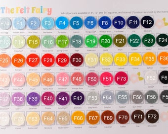 10x 9 inch Felt Squares - Choose from 69 Colours - Wool Blend Felt - Pick and Mix Felt Colours