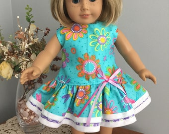 American Girl Doll Clothes - Brightly Colored Drop Waist Dress