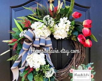 NEW! Front Door Wreath, Summer Wreaths for Front Door, Spring Wreath, Year Round Wreath, Front Door Wreaths, Home Decor, Spring Wreaths