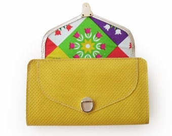 Bright yellow leather wallet, yellow wallet, Women's wallet, Handmade wallet