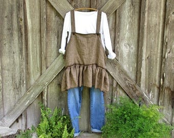 linen tunic jumper pinafore smock apron in brown stripe ready to ship