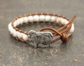 Sheep Jewelry Silver White Sheep Bracelet Single Leather Wrap Bracelet Gemstone Bracelet