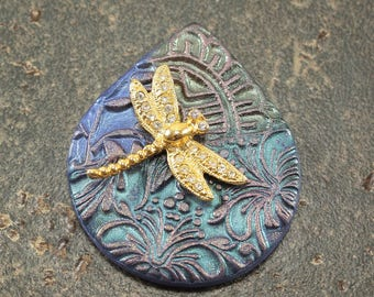 Dragonfly Pendant Gold Turquoise Green Lavender Teardrop Pendant One of a Kind Mixed Media Pendant Artisan Necklace Supplies