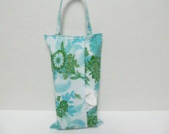 Hanging Tissue Box Cover For Skinny Kleenex/Green Flower