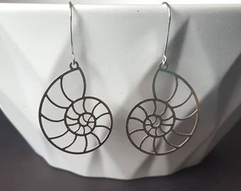 Sterling Silver Nautilus Earring, Nautical Jewelry, Beach Jewelry, Birthday Gift, Mother's Gift