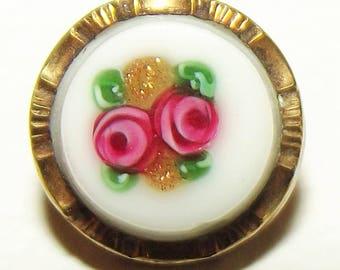 Antique Button ~ Metal Button ~ Vest Button ~ Floral Overlay Rose Button