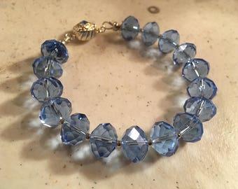 Blue Bracelet - Crystal Jewellery - Silver Jewelry - Magnetic Clasp - Fashion - Trendy