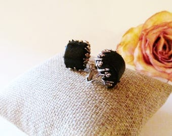 MIRIAM HASKELL Black and Silver Earrings, Clip On Earrings, Filigree Earrings, Romantic Earrings, Designer Signed Earrings