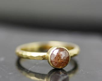 18K yellow gold unique alternative modern engagement ring, OOAK rough cut diamond women's solitaire engagement ring, one of kind, recycled