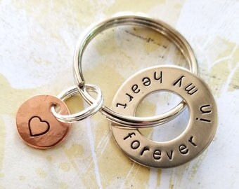 Memorial forever in my heart Keychain with Nickel Silver Washer and Copper Disc - In Memory Of Gift - Loss of Mother Father Husband Child