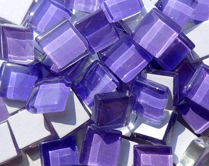 Purple Glass Tiles - 1 cm - Crystal Mosaic Tiles - Set of 100 - Use for Mosaic Jewelry - Violet Mosaic Tiles