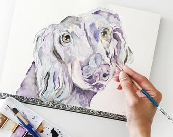 Custom Dachshund Wiener Dog Portrait, Pet Loss Gift, Dog Memorial Portrait, Sympathy Gift, Original Watercolor Dog Portrait