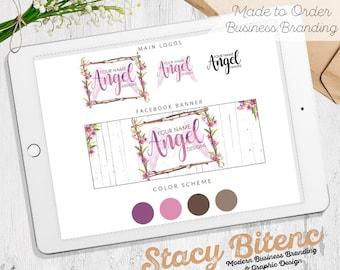 Purple Logo, Angel Logo, Wings Logo, Purple flower logo, floral logo, Flower Logo, Watercolor Logo, Logo Design, Logo, Business Branding