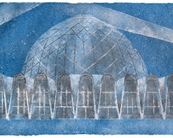 Domes No. 2 (Mitchell Park Conservatory, Milwaukee): triptych pulp painting on handmade abaca / cotton paper (2018), Item No. 262.02