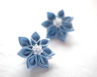 Light blue hair clips - Flower girl hair clips - Linen hair clips - Toddler hair accessories - Girl accessories - Gift for flower girl