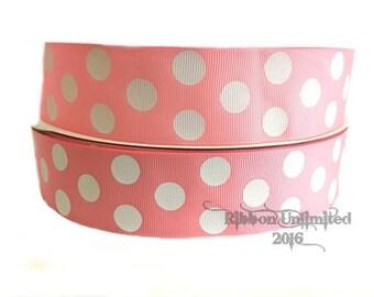 "10 Yards 1.5"" Pink Jumbo Polka Dot grosgrain ribbon LOW SHIPPING COST"