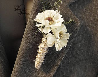 Will ship in 5 days ~ Daisy Boutonniere with twine wrapped stem.